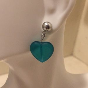 Glass Heart Stud Earrings